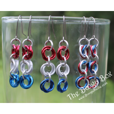 3 Mobius Chain Earrings - Anodized Aluminum