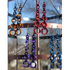 Graduated 2-Ring Mobius Earrings - Anodized Aluminum