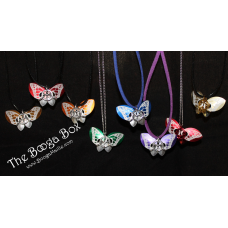 Butterfly Small Etched Necklace - Anodized Aluminum