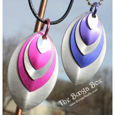 Layered 5 Scale Pendant Necklace - Anodized Aluminum