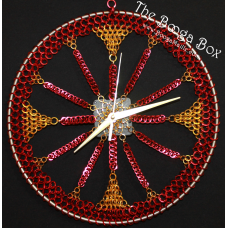 "12"" Wall Clock Gold and Red- Anodized Aluminum"
