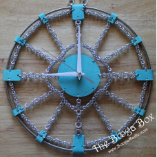 "12"" Wall Clock Silver & Turquoise - Anodized Aluminum"